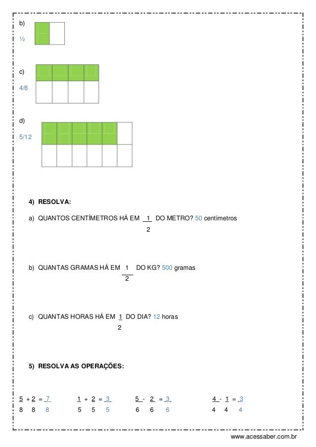 Super Gabarito: Avaliação de matemática: Frações e formas geométricas – 4º … YB36