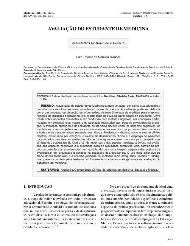 Medicina, Ribeirão Preto, 29: 429-439, out./dez. 1996  Simpósio: ENSINO MÉDICO DE GRADUAÇÃO Capítulo IX  AVALIAÇÃO DO ESTU...
