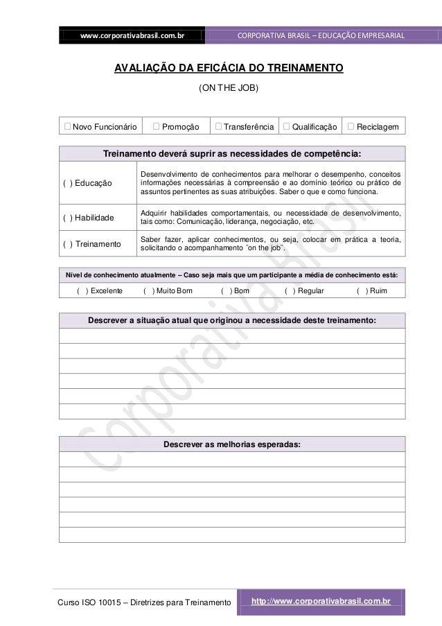 www.corporativabrasil.com.br                   CORPORATIVA BRASIL – EDUCAÇÃO EMPRESARIAL                  AVALIAÇÃO DA EFI...
