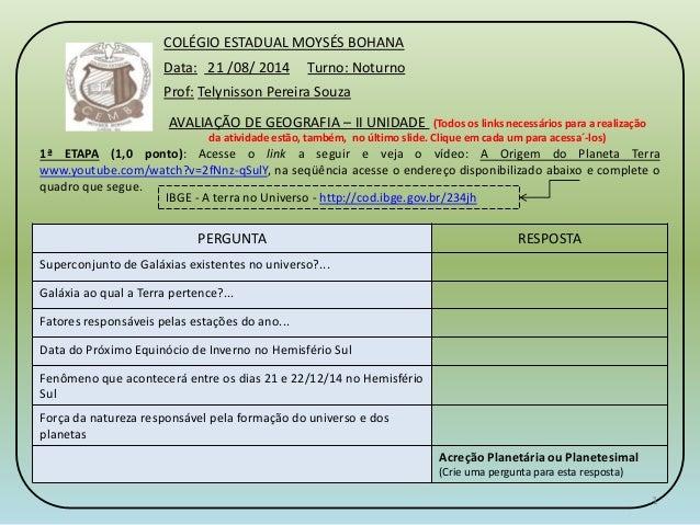 COLÉGIO ESTADUAL MOYSÉS BOHANA  Data: 21 /08/ 2014 Turno: Noturno  Prof: Telynisson Pereira Souza  AVALIAÇÃO DE GEOGRAFIA ...
