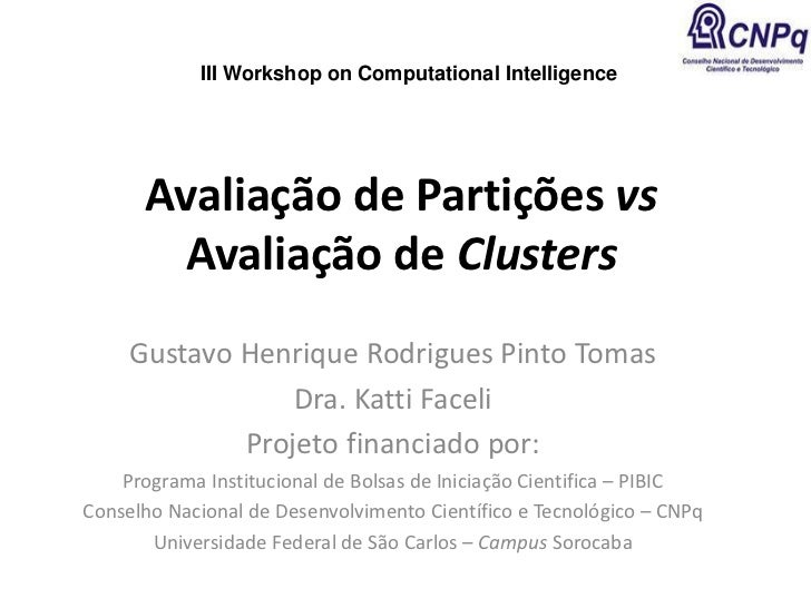 III Workshop on Computational Intelligence      Avaliação de Partições vs        Avaliação de Clusters     Gustavo Henriqu...