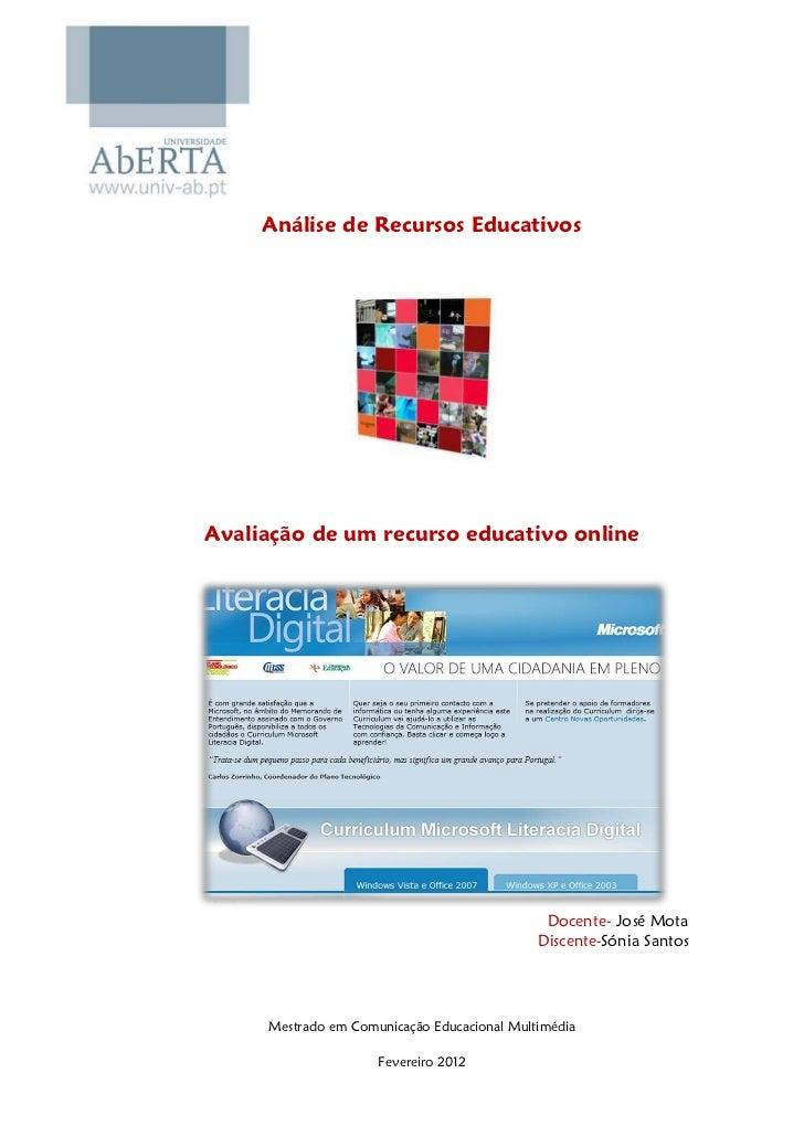 Análise de Recursos EducativosAvaliação de um recurso educativo online                                              Docent...