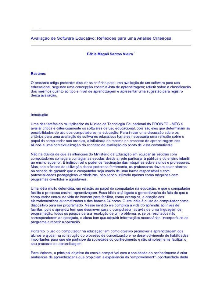 Avaliação de Software Educativo: Reflexões para uma Análise Criteriosa                                                    ...