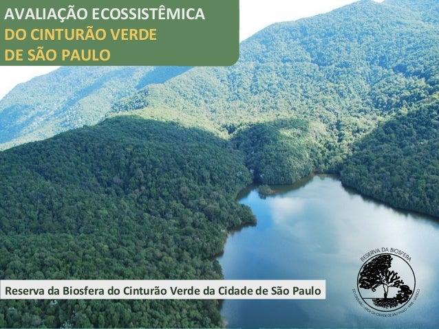 Reserva da Biosfera do Cinturão Verde da Cidade de São Paulo AVALIAÇÃO ECOSSISTÊMICA DO CINTURÃO VERDE DE SÃO PAULO