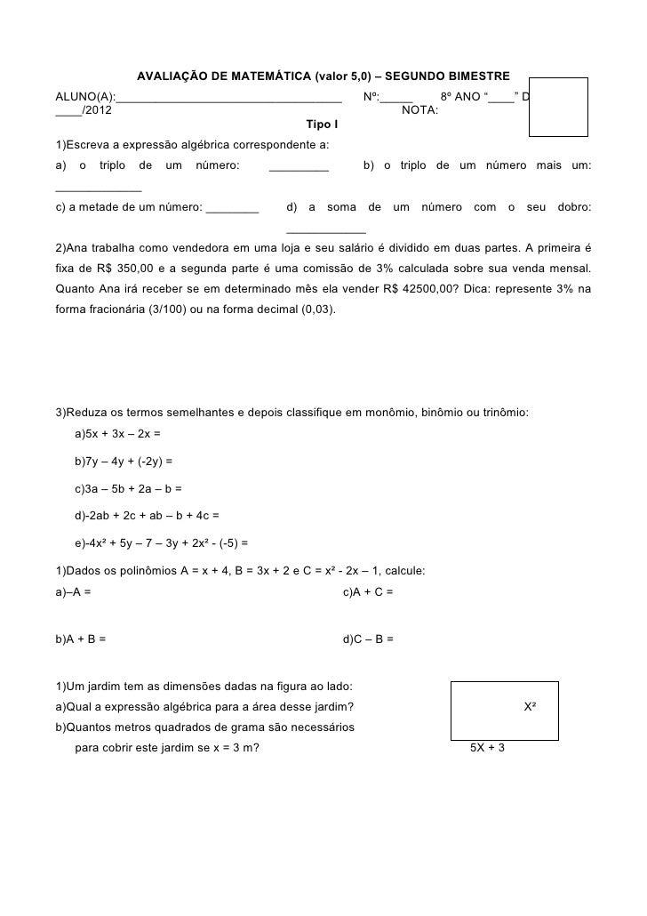 AVALIAÇÃO DE MATEMÁTICA (valor 5,0) – SEGUNDO BIMESTREALUNO(A):__________________________________                Nº:_____ ...