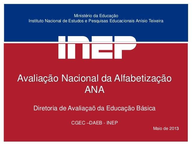 Ministério da Educação Instituto Nacional de Estudos e Pesquisas Educacionais Anísio Teixeira  Avaliação Nacional da Alfab...
