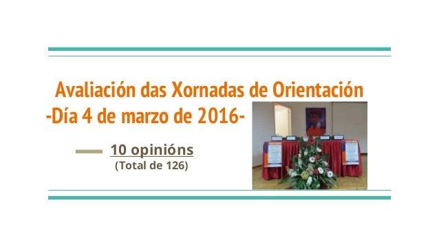 Avaliación das Xornadas de Orientación -Día 4 de marzo de 2016- 10 opinións (Total de 126)