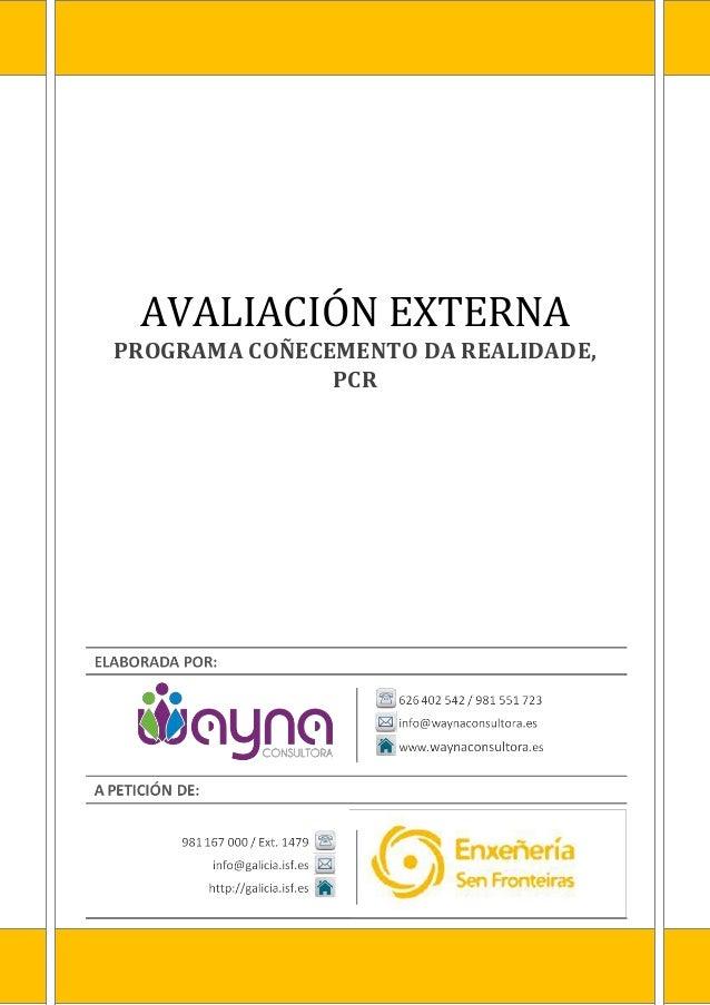 AVALIACIÓN EXTERNA PROGRAMA COÑECEMENTO DA REALIDADE, PCR