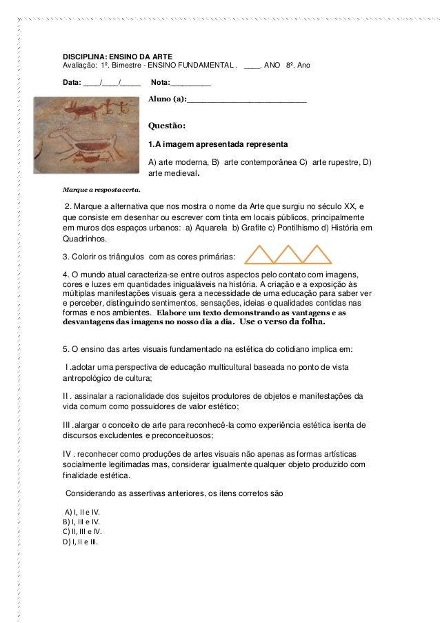 Avaliacoes Artes Primeiro Bimestre