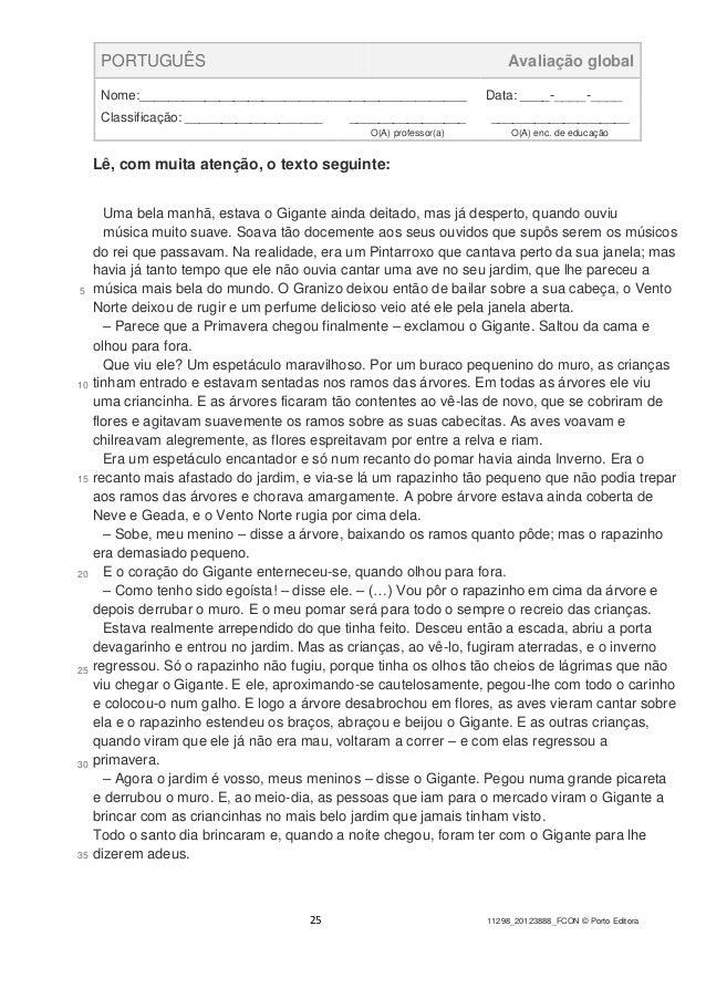 25 11298_20123888_FCON © Porto Editora PORTUGUÊS Avaliação global Nome:_____________________________________________ Data:...