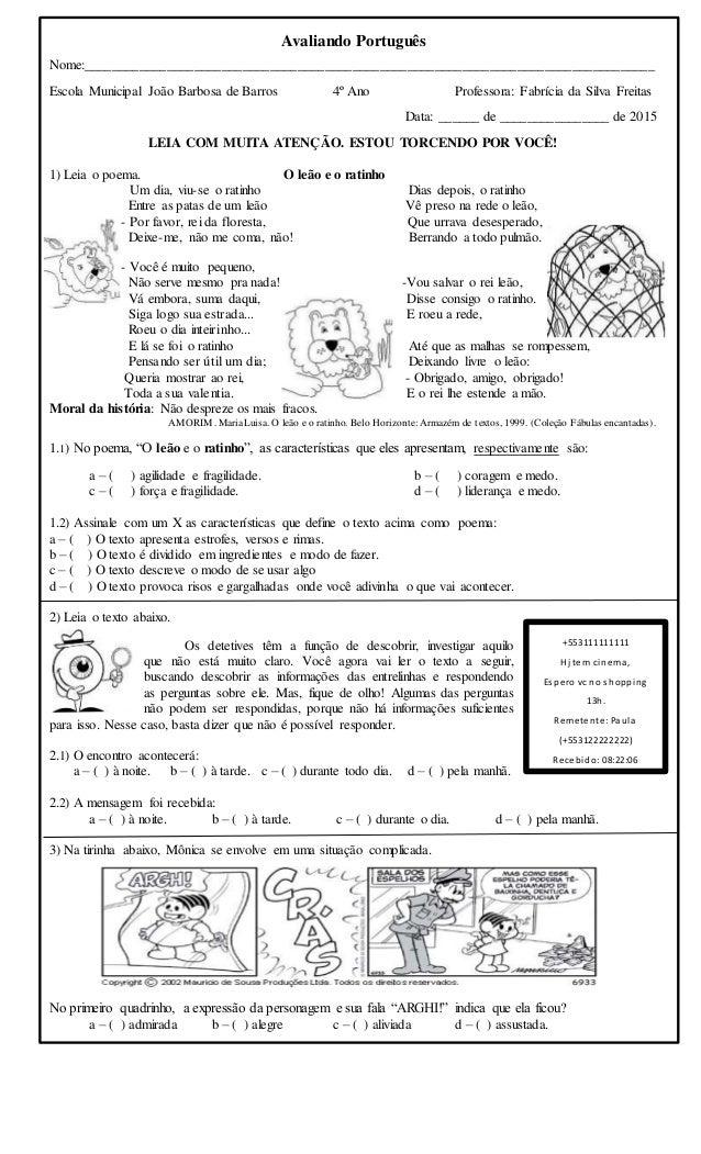 Avaliando Português Nome:___________________________________________________________________________________ Escola Munici...