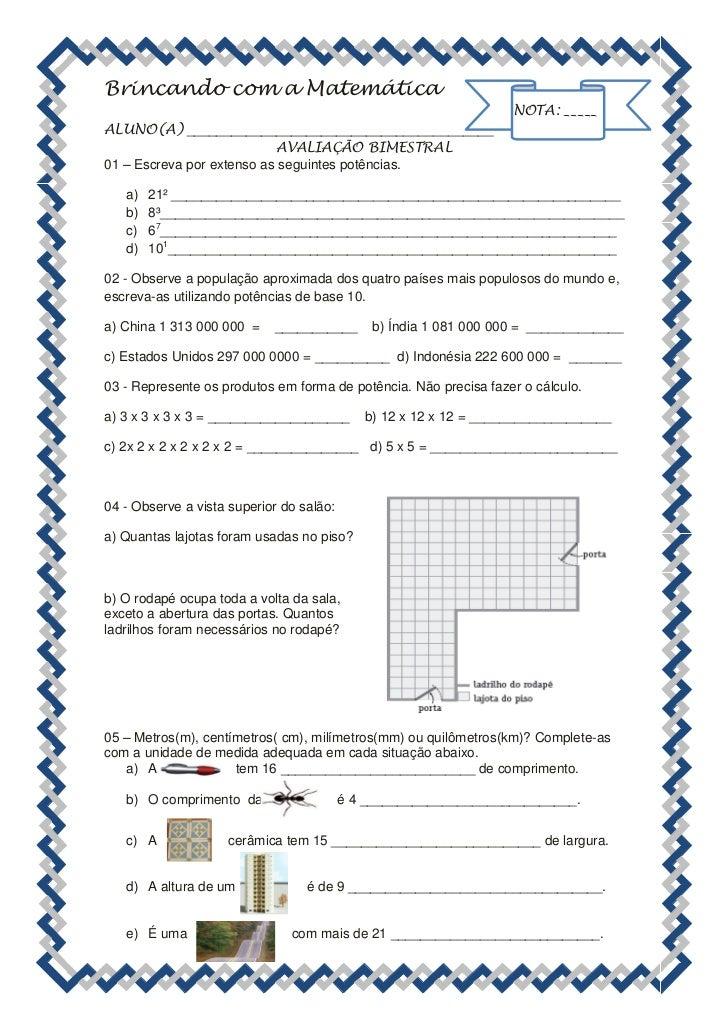 Brincando com a Matemática                                                                   NOTA: _____ALUNO(A) _________...