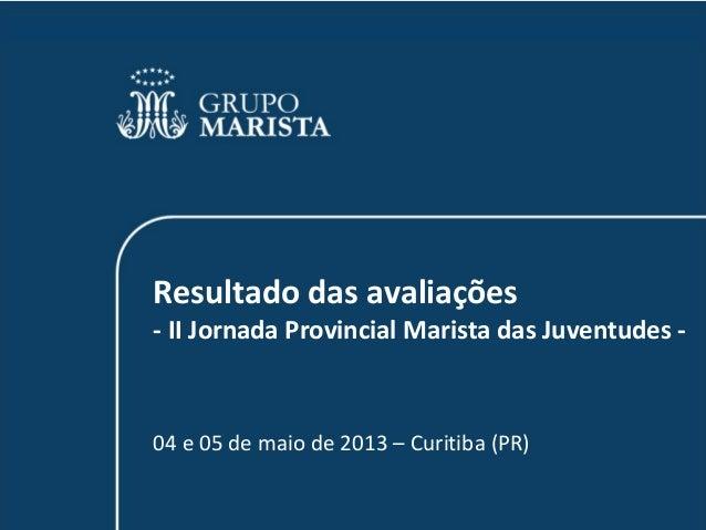 Resultado das avaliações- II Jornada Provincial Marista das Juventudes -04 e 05 de maio de 2013 – Curitiba (PR)