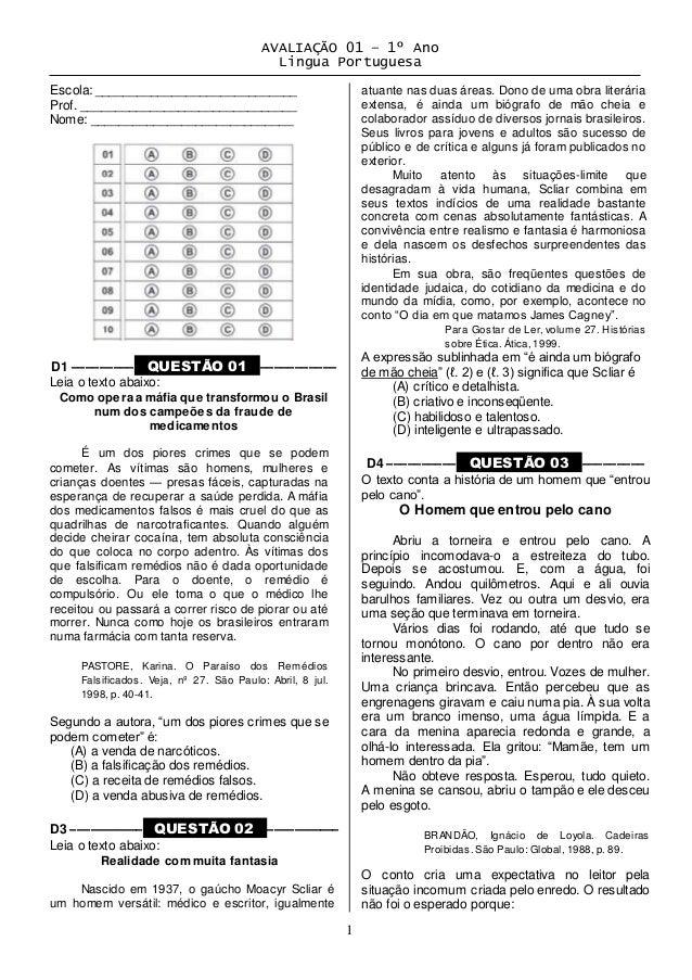 AVALIAÇÃO 01 – 1º Ano  Lingua Portuguesa  1  Escola: _____________________________  Prof. _______________________________ ...