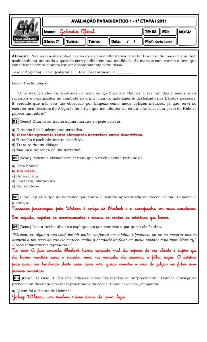 AVALIAÇÃO PARADIDÁTICO 1 - 1ª ETAPA / 2011                  Nome:       Gabarito Oficial                               TE:...