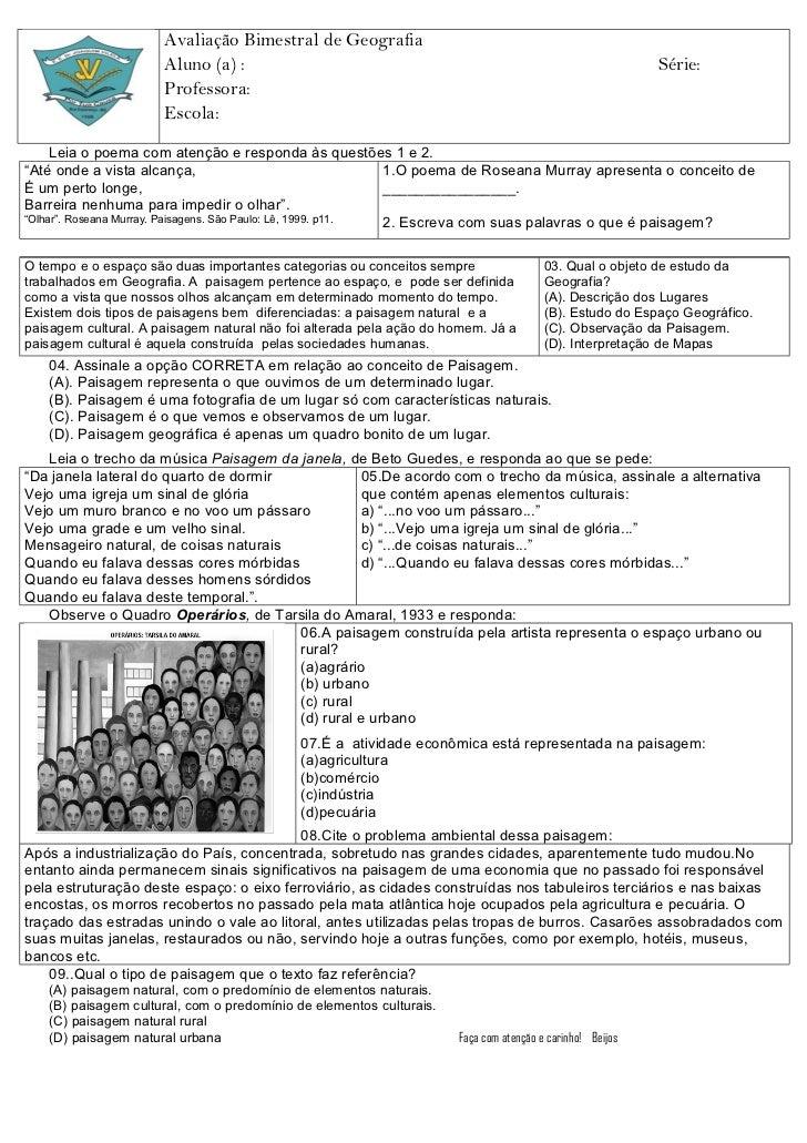 Avaliação Bimestral de Geografia                      Aluno (a) :                                                         ...