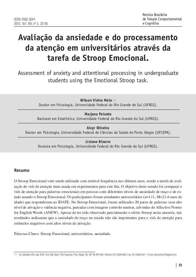 23 Avaliação da ansiedade e do processamento da atenção em universitários através da tarefa de Stroop Emocional. Assessmen...