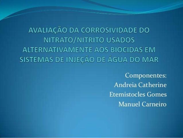Componentes: Andreia Catherine Etemistocles Gomes Manuel Carneiro