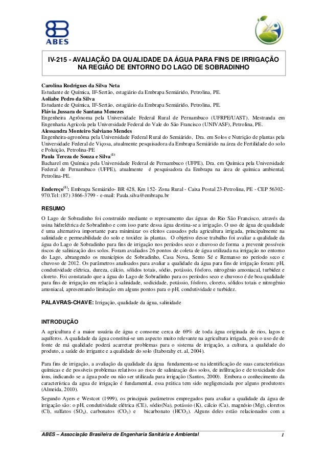 IV-215 - AVALIAÇÃO DA QUALIDADE DA ÁGUA PARA FINS DE IRRIGAÇÃO NA REGIÃO DE ENTORNO DO LAGO DE SOBRADINHO Carolina Rodrigu...