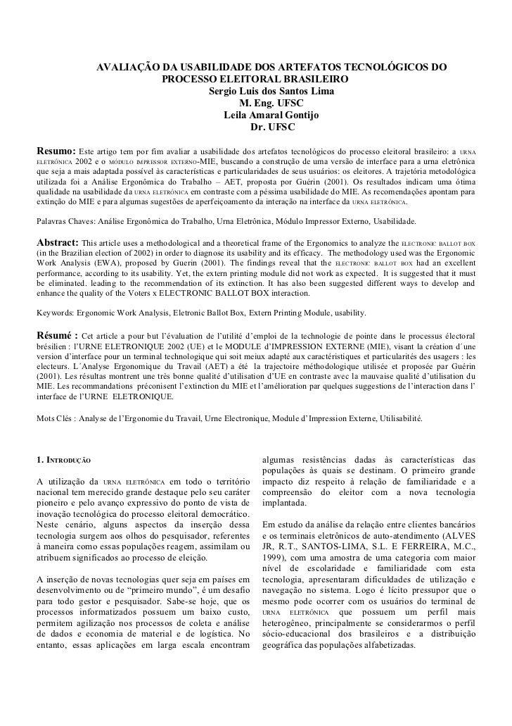 Avaliação da usabilidade Urna Eletrônica