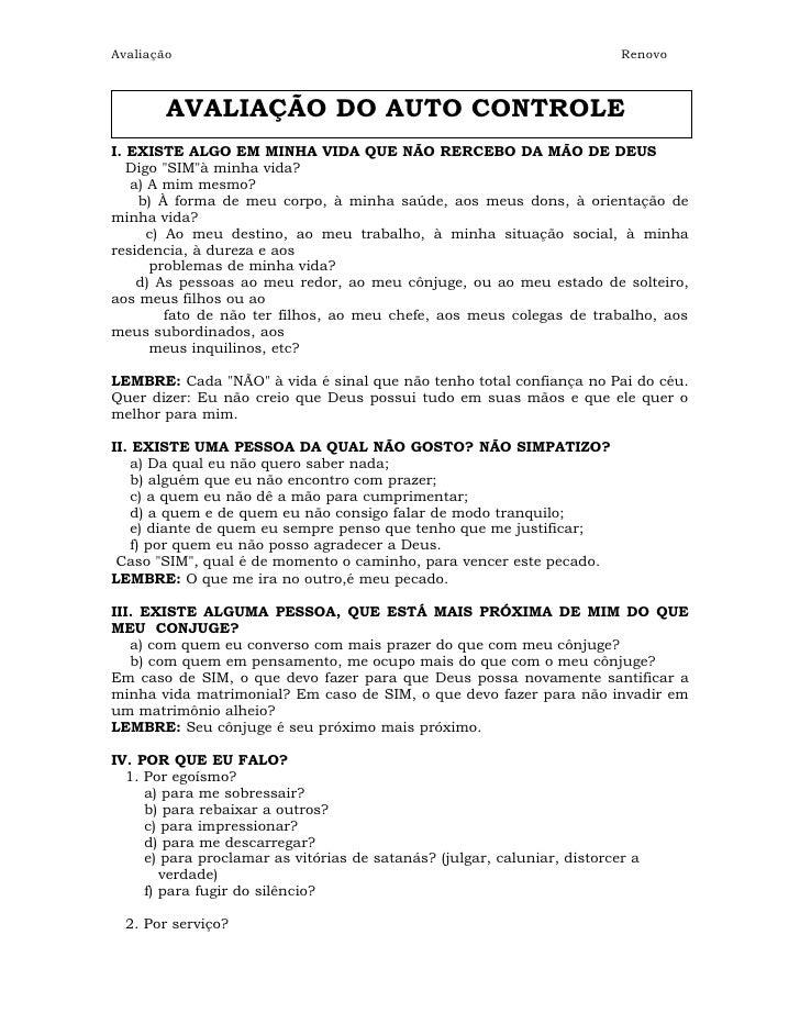 Avaliação                                                                 Renovo        AVALIAÇÃO DO AUTO CONTROLEI. EXIST...