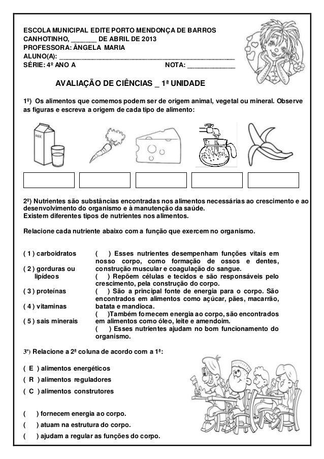 ESCOLA MUNICIPAL EDITE PORTO MENDONÇA DE BARROS CANHOTINHO, _______ DE ABRIL DE 2013 PROFESSORA: ÂNGELA MARIA ALUNO(A): __...