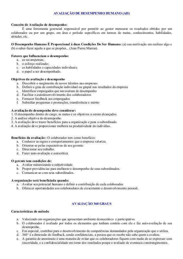 AVALIAÇÃO DE DESEMPENHO HUMANO (AD) Conceito de Avaliação de desempenho: É uma ferramenta gerencial responsável por permit...