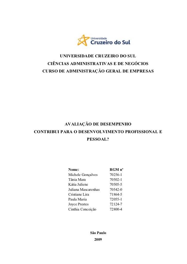 UNIVERSIDADE CRUZEIRO DO SUL    CIÊNCIAS ADMINISTRATIVAS E DE NEGÓCIOS   CURSO DE ADMINISTRAÇÃO GERAL DE EMPRESAS         ...