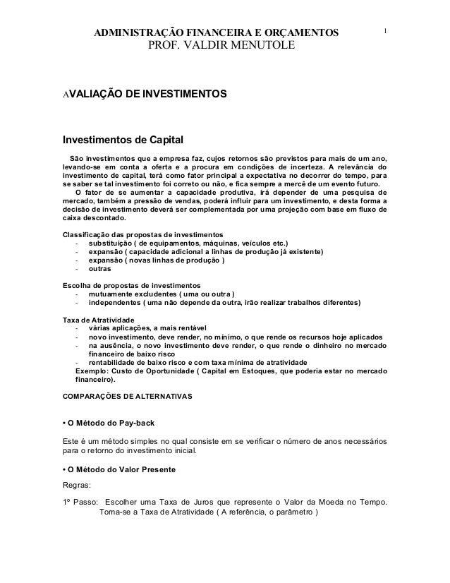 ADMINISTRAÇÃO FINANCEIRA E ORÇAMENTOS                                           1                       PROF. VALDIR MENUT...