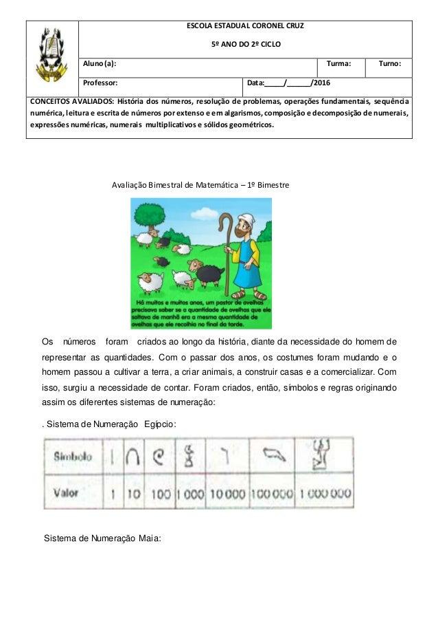 Avaliacao De Matematica 5º Ano Ensino Fundamental 1 2º Ciclo 1º