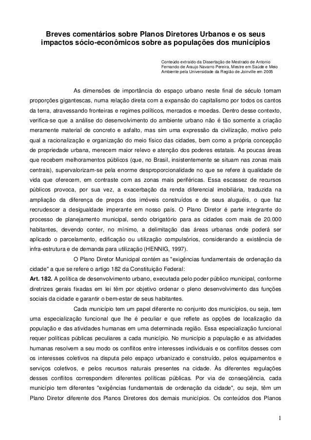 Breves comentários sobre Planos Diretores Urbanos e os seus impactos sócio-econômicos sobre as populações dos municípios C...