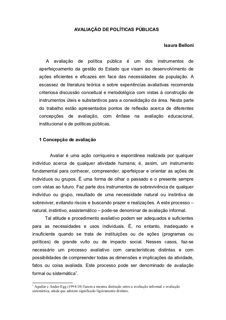 AVALIAÇÃO DE POLÍTICAS PÚBLICAS                                                                                   Isaura B...