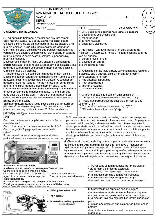 """E.E.""""Dr JOAQUIM VILELA""""                                           AVALIAÇÂO DE LÍNGUA PORTUGUESA / 2012                   ..."""