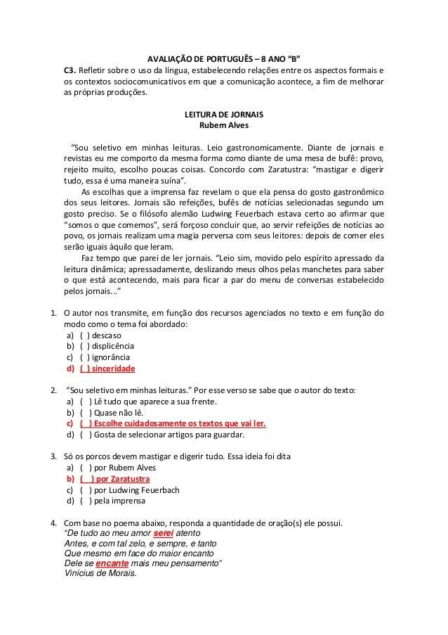 """AVALIAÇÃO DE PORTUGUÊS – 8 ANO """"B"""" C3. Refletir sobre o uso da língua, estabelecendo relações entre os aspectos formais e ..."""