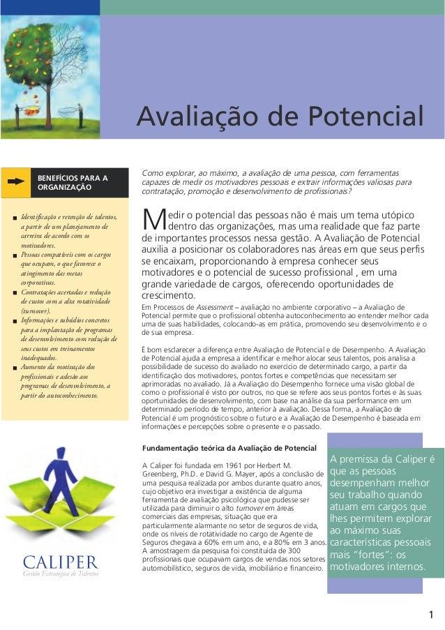 Avaliação de Potencial Como explorar, ao máximo, a avaliação de uma pessoa, com ferramentas capazes de medir os motivadore...
