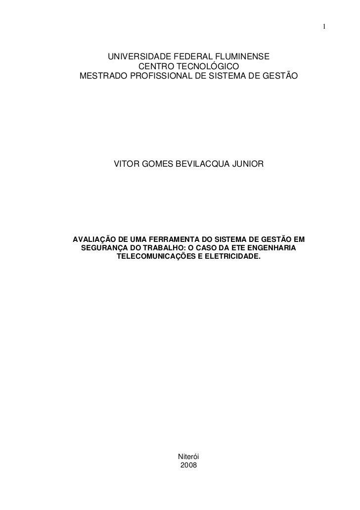 1      UNIVERSIDADE FEDERAL FLUMINENSE            CENTRO TECNOLÓGICO MESTRADO PROFISSIONAL DE SISTEMA DE GESTÃO        VIT...
