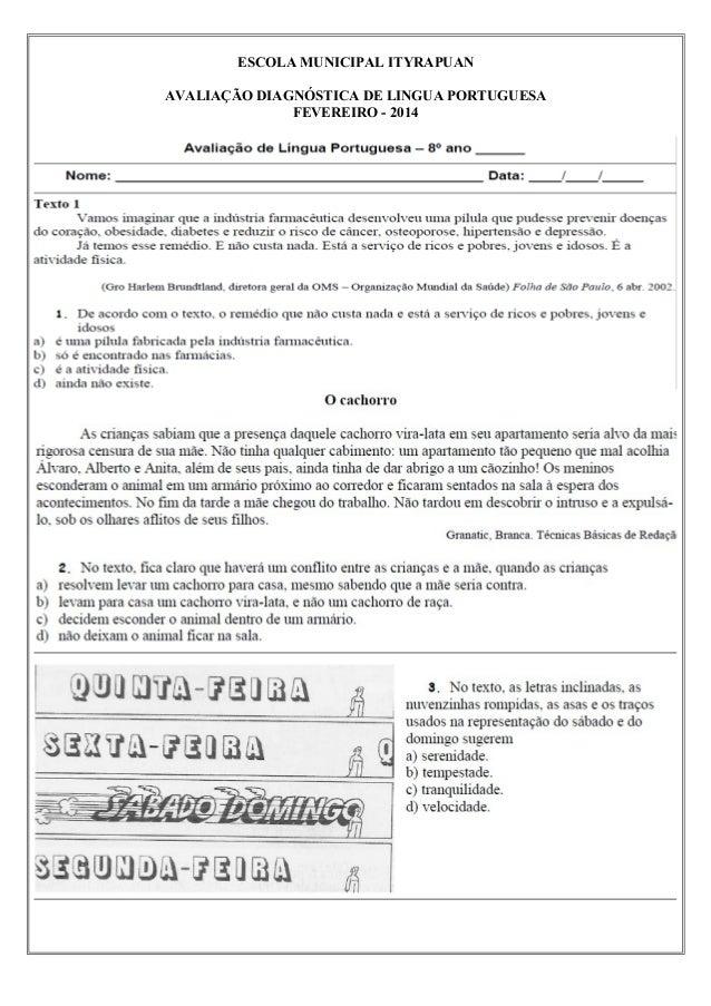 ESCOLA MUNICIPAL ITYRAPUAN AVALIAÇÃO DIAGNÓSTICA DE LINGUA PORTUGUESA FEVEREIRO - 2014