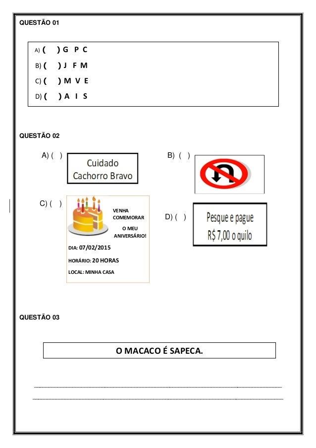 Avaliação diagnóstica de Língua Portuguesa   1º ano - 2015 Slide 2