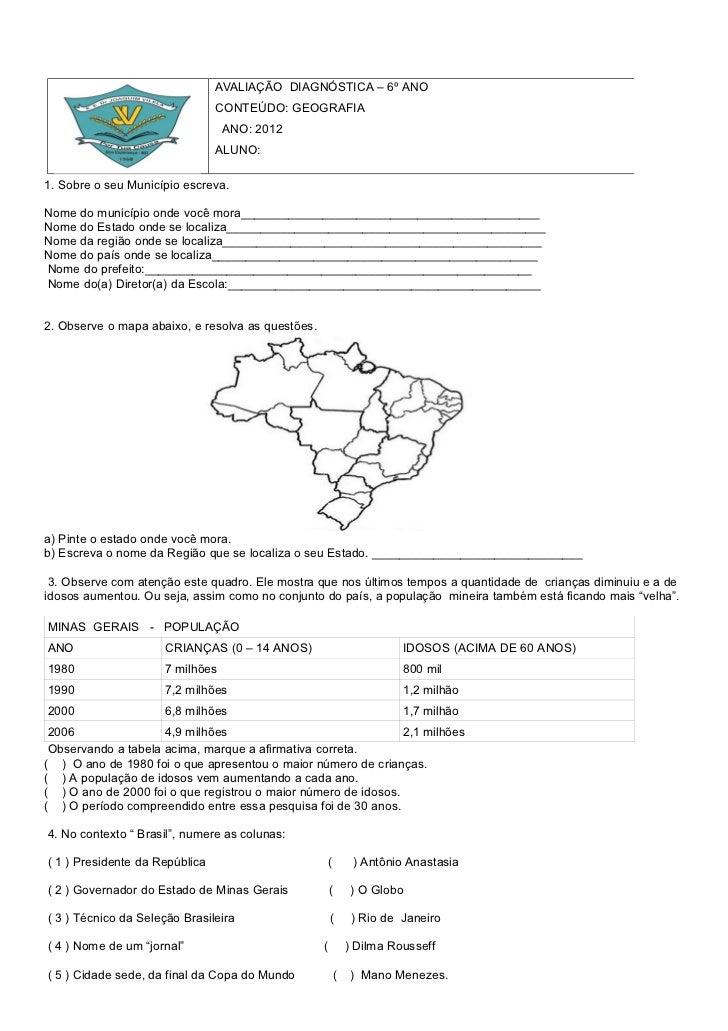 AVALIAÇÃO DIAGNÓSTICA – 6º ANO                                CONTEÚDO: GEOGRAFIA                                 ANO: 201...