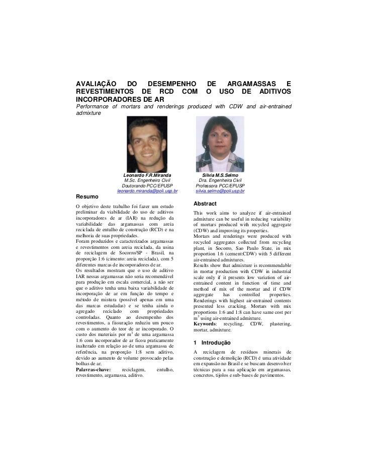 AVALIAÇÃO   DO  DESEMPENHO                              DE  ARGAMASSAS  EREVESTIMENTOS DE RCD COM                         ...