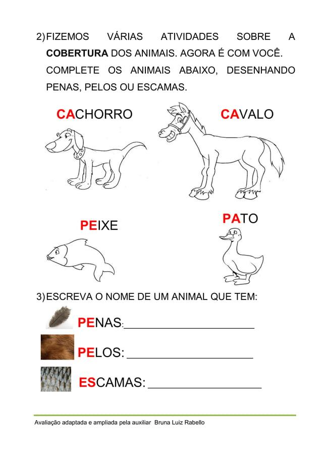 2) FIZEMOS  VÁRIAS  ATIVIDADES  SOBRE  A  COBERTURA DOS ANIMAIS. AGORA É COM VOCÊ. COMPLETE OS ANIMAIS ABAIXO, DESENHANDO ...