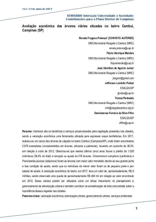 12 e 13 de maio de 2017 SEMINÁRIO Interação Universidade e Sociedade: Contribuições para o Plano Diretor de Campinas 1 Ava...