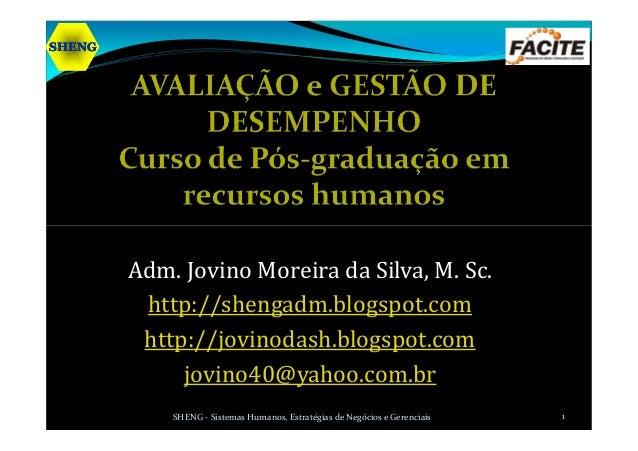 SHENGSHENGSHENGSHENG Adm. Jovino Moreira da Silva, M. Sc. http://shengadm.blogspot.com http://jovinodash.blogspot.com jovi...