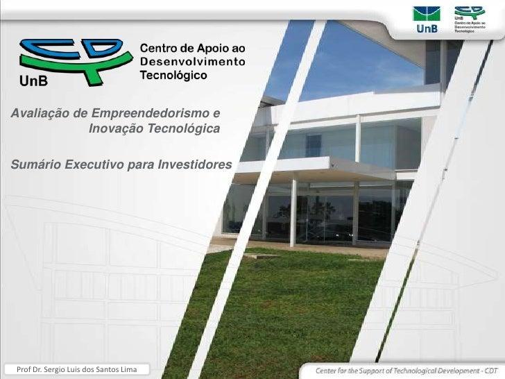 Avaliação de Empreendedorismo e Inovação Tecnológica<br />Sumário Executivo para Investidores<br />