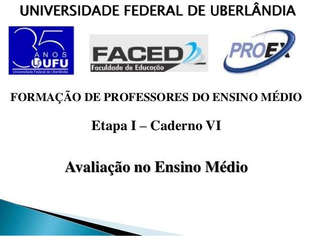 FORMAÇÃO DE PROFESSORES DO ENSINO MÉDIO Etapa I – Caderno VI UNIVERSIDADE FEDERAL DE UBERLÂNDIA Avaliação no Ensino Médio