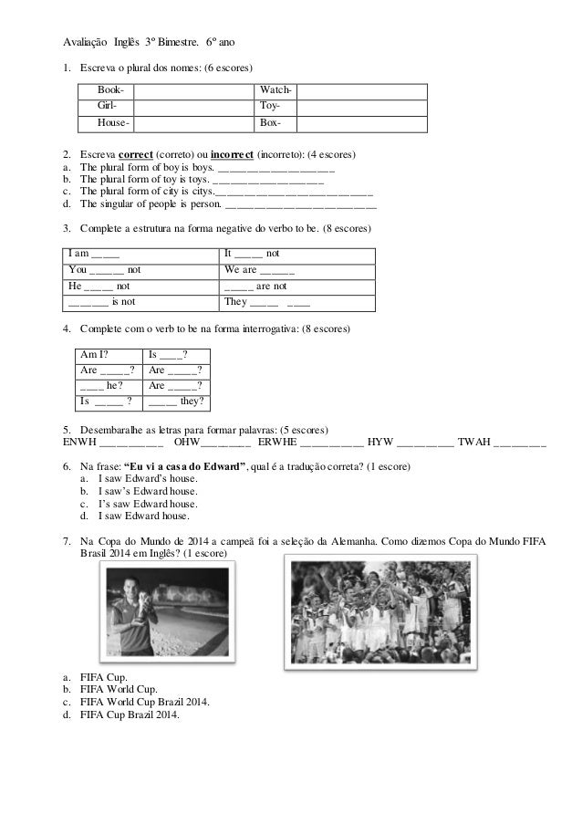 Preferência Avaliação inglês 3º bimestre 6 UO97