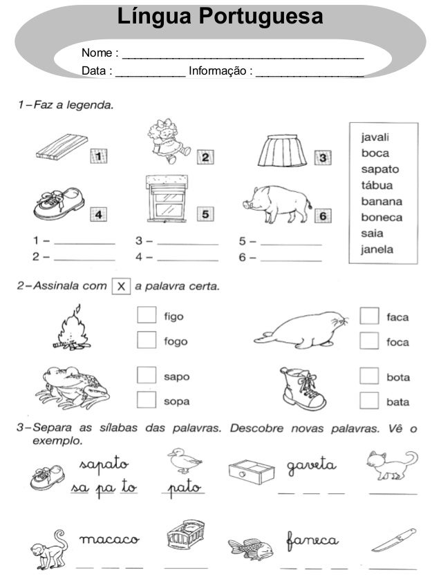 Língua Portuguesa Nome : ______________________________________ Data : ___________ Informação : _________________