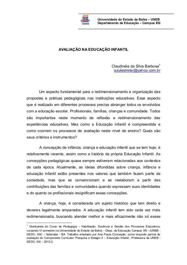Preferência Avaliação na Educação Infantil - Claudinéia Barbosa - 2010 XM32