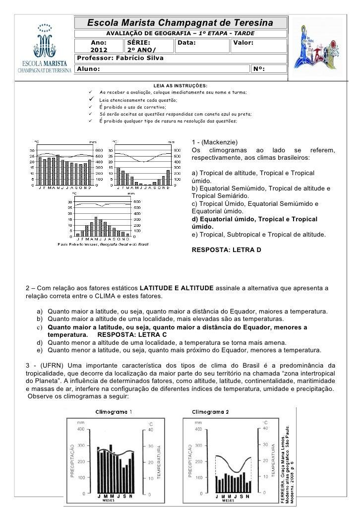 Escola Marista Champagnat de Teresina                           AVALIAÇÃO DE GEOGRAFIA – 1º ETAPA - TARDE                 ...