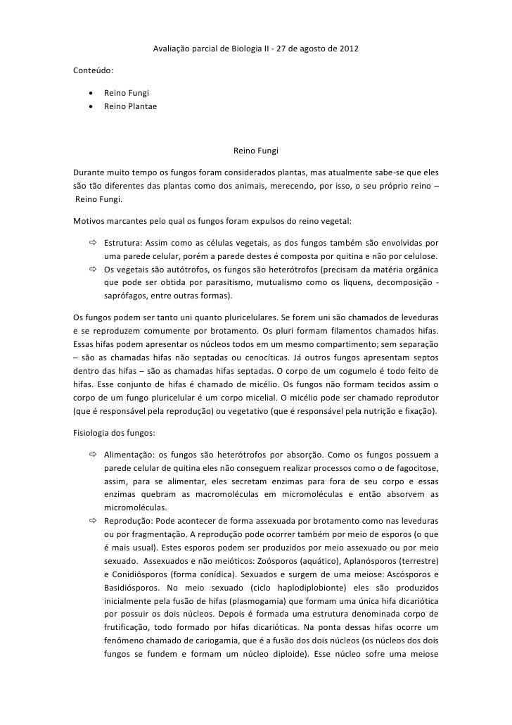 Avaliação parcial de Biologia II - 27 de agosto de 2012Conteúdo:       Reino Fungi       Reino Plantae                  ...